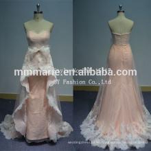 Hochzeitskleid für Verkauf online Sweep Trail ärmellose Illusion zurück Spitze Stoff für Hochzeitskleid Verkauf
