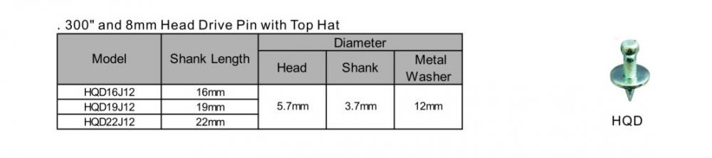 300 And 8mm Head Drive Pin With Top Hat Hqd