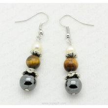 tiger eye round beads hematite fashion earring