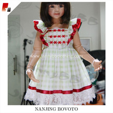 Girls embroidery white check red ribbon dress