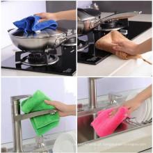 Toalha de microfibra tingida sólida para limpeza