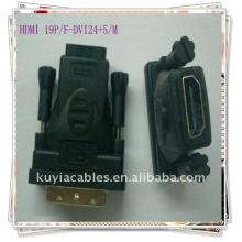 Doublure en or plaqué DVI-D mâle vers HDMI adaptateur femelle DVI 24 + 5