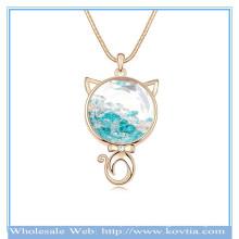 Vente en gros 18k or persan cat shape cristal autrichien dans le collier en verre
