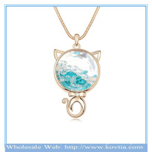 Wholesale 18k gold persian cat shape Austrian crystal in the glass sweater necklace