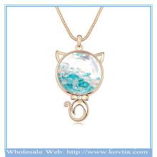 Atacado ouro 18k gato persa cristal austríaco forma na colar de camisola de vidro