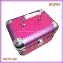 Glossy Quilted PVC Lovely caja de vanidad de maquillaje de aluminio con cerradura (SACMC102)