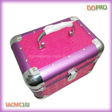 Глянцевая стеганая ПВХ Прекрасная алюминиевая коробка тщеславия для макияжа с замком (SACMC102)