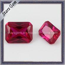 Прямоугольный разрезанный синтетический рубин