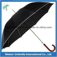 Bonne qualité droite Ouvert poignée en bois masculin parapluie