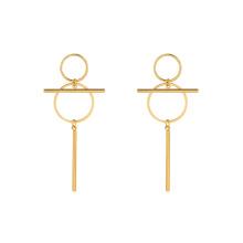 E-662 xuping diseño único 24k oro color acero inoxidable señoras simples gota pendientes