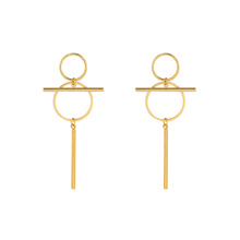 E-662 xuping unique design 24k gold color stainless steel simple ladies drop earrings