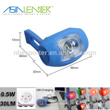 0.5W Iluminación 100% -50% Iluminación-Flash USB Silicone bicicleta luz