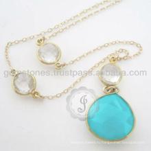 Позолоченная Природные Серебро Драгоценный Камень Ожерелье Кулон Для Лучший Подарок