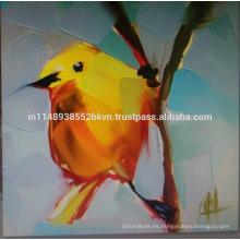 Pintura al óleo de pájaro amarillo
