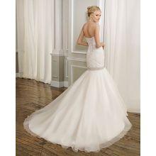 Robe de mariée à volants et perles longueur au sol