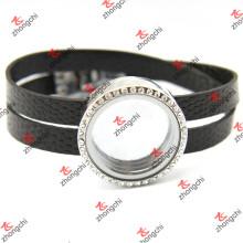 Черные кожаные круглые браслеты для мужчин (LFL120)
