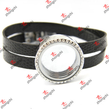 Preta pulseiras de couro redonda locket para homem (lfl120)