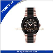 Luxo homens de aço inoxidável relógio de pulso de quartzo suíço