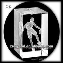 Basquetebol K9 3D Laser dentro de retângulo de cristal