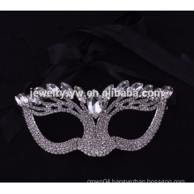 fashion metal silver plated up-half face crystal magnetic face mask for masquerade