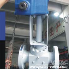 Vanne à boisseau sphérique en acier forgé pneumatique / électrique à commande électrique avec entrée RF