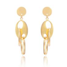 Nuevo estilo 18K oro árabe círculo oro largo cuelga pendientes de acero