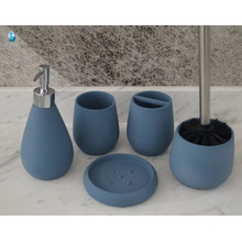 5 pcs polyresin Bathroom Set with Cup, Tray - Soap Dispenser and Tooth Brush Holder