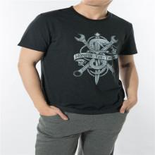 WFF01-Camiseta estampada preta em tecido funcional
