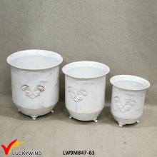 Conjunto 3 creme decorativo antigo jardim metal flower pot