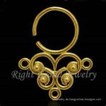 Gold Plated Nase Piercing indische Nasenringe