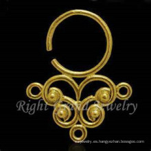 Oro plateado nariz Piercing anillos en la nariz de indio