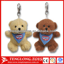 Llavero lindo formado oso del juguete de la felpa 2 llavero personalizado de la felpa