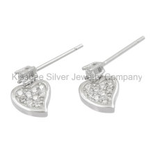 Fashion Ear Earrings 925 Sterling Silver Jewelry CZ Drop Earrings (KE3071)