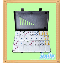 Double 6 colorful domino pack in black plastic box