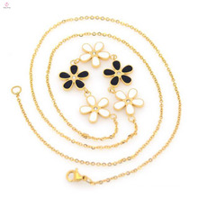 Hot sale stainless steel fashion flower gold plated necklace chain for women
