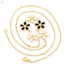 Горячая распродажа из нержавеющей стали мода цветок позолоченные цепи ожерелье для женщин