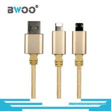 Cable de datos USB 2 en 1 para teléfono móvil