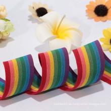 2014Die Fabrik Direktverkauf beliebtesten stricken elastischen Band / Regenbogen elastischen Band