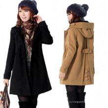 Новый Женский стильный шерсти теплый длинное пальто куртка пальто (50029-1)