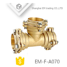 EM-F-A070 Socket type brass reducing tee flange pipe fittings