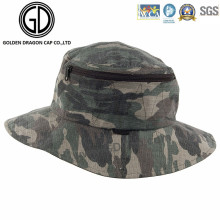 Classic Green Camo Waterproof Fisherman Zipper Bucket Hat with Pocket