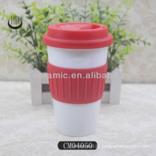 12oz double wall ceramic tumbler with silicon lid