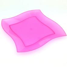 Placa de plástico Bandeja desechable 18 cm Bandeja de onda cuadrada
