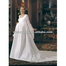 Elegante Pavimento Comprimento Cetim Vestido de noiva grávida