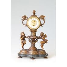 Clock Statue Double Angles Bell Bronze Sculpture Tpc-015