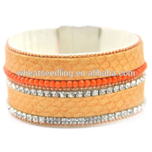 fashion jewelry 2015 ladies bracelet models crystal leather wrap bracelet