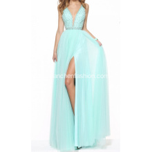 Spaghetti Strap Perlen V-Ausschnitt Backless Prom Dress