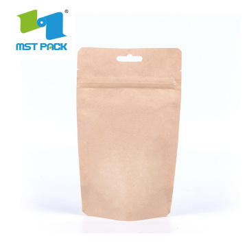 Bolsa de embalaje de café de papel Kraft marrón biodegradable