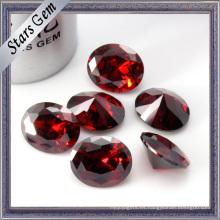 Deep Blood Red Shining Oval Diamond Cutting Zirconia cúbica