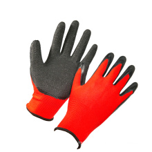 13G Red Polyester Black Latex Coated Work Glove